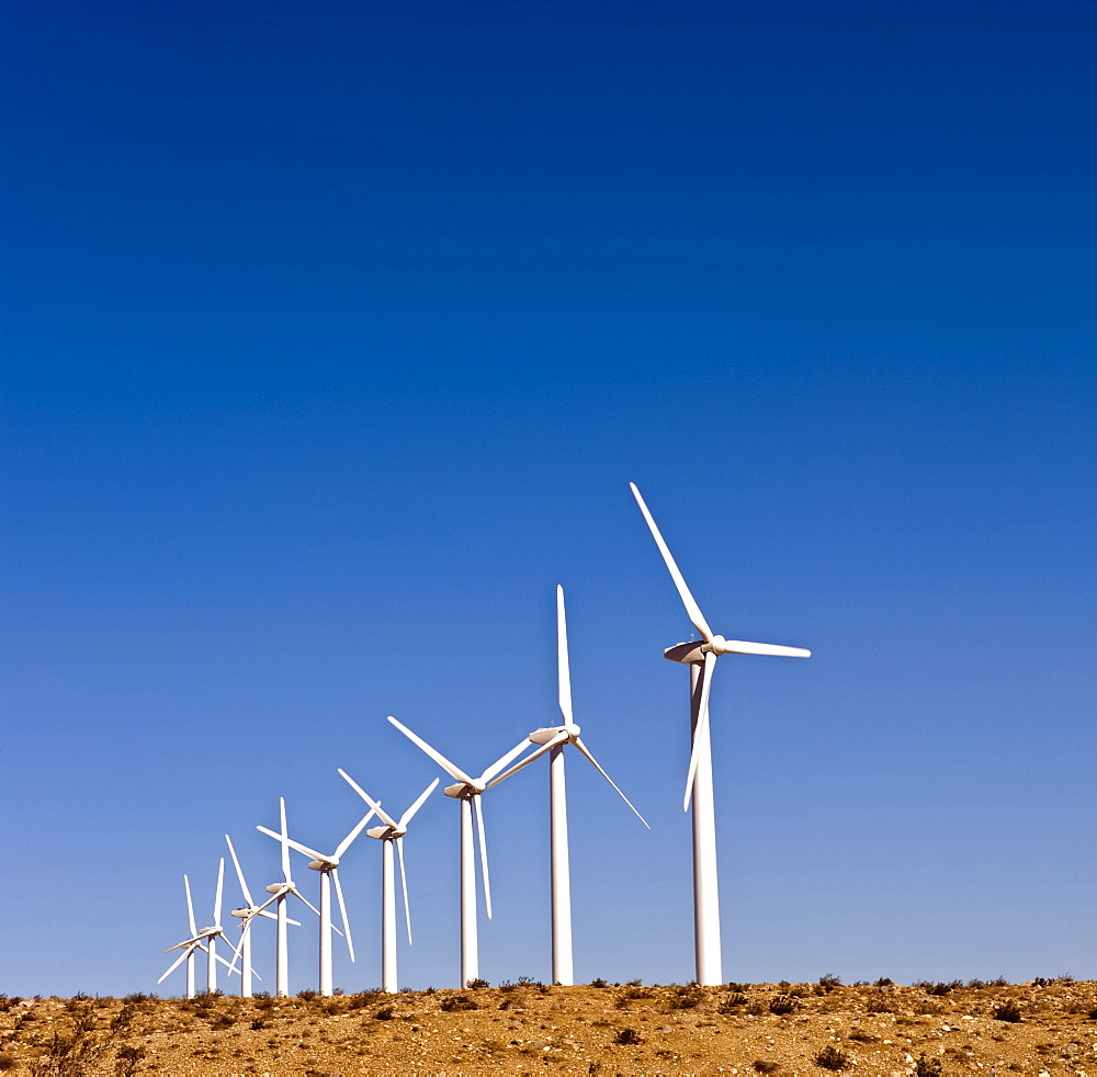 WIndmills produce energy at San Gorgonio Pass near Palm Springs, California.