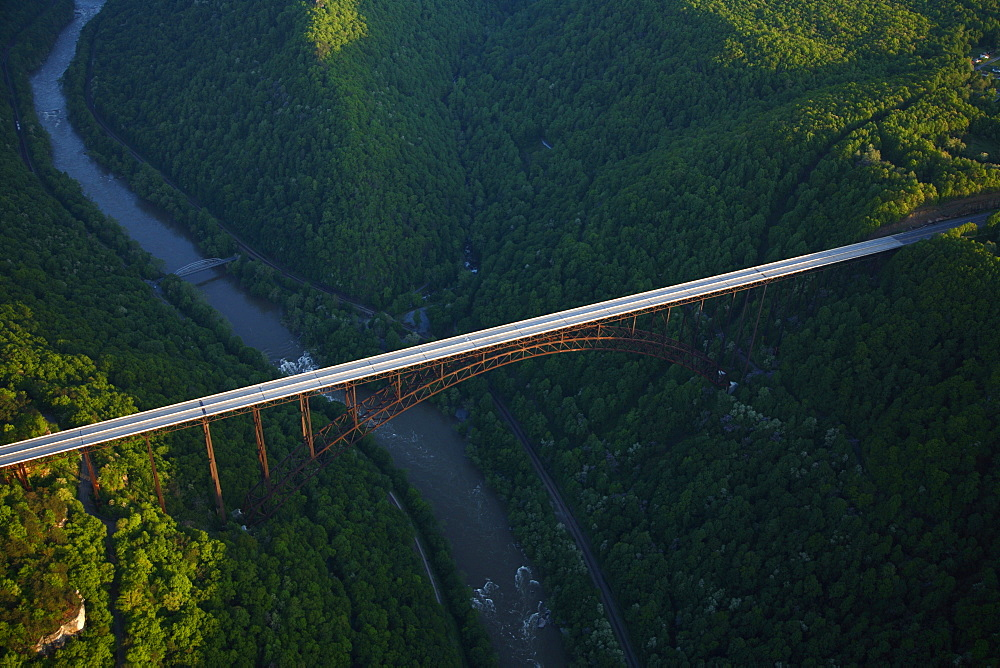 Aerial view of the Rt. 19 bridge over the New River Gorge near Fayetteville, WV