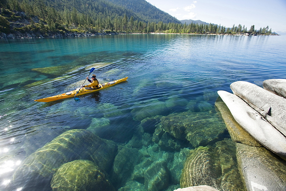 Kayaking near Sand Harbor on Lake Tahoe, Nevada, United States.