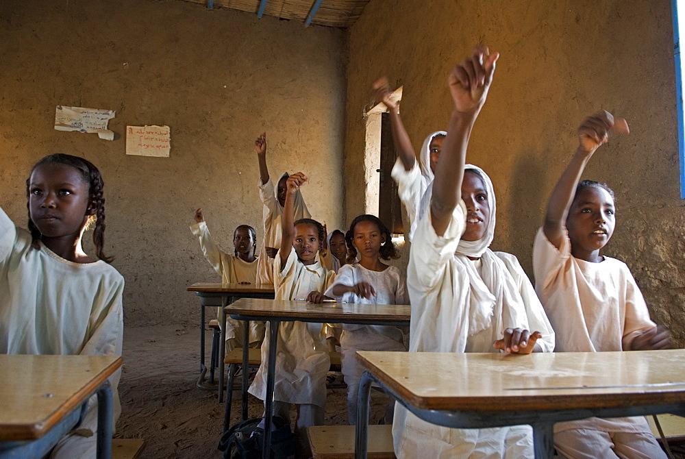 Children in a primary school in El-Ar - a village in northern Sudan.