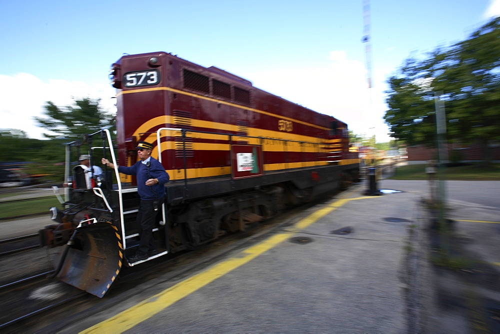 The North Conway Scenic railroad prepares to depart from the station in downtown North Conway, NH