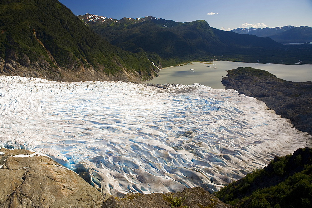 Glacier flowing into bay near Juneau, Alaska.
