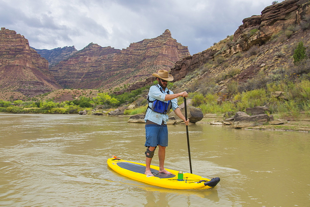 SUP in Desolation Canyon along the Green River in Utah, Desolation and Gray Canyons, Utah, United States of America