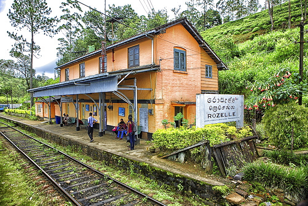 Rozelle Train Station.  Sri Lanka, Central Province, the popular scenic train ride through the tea growing hill country