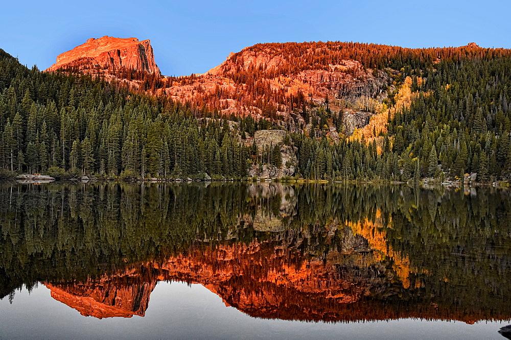 Sunrise at Bear Lake in Rocky Mountain National Park in Estes Park, Colorado.