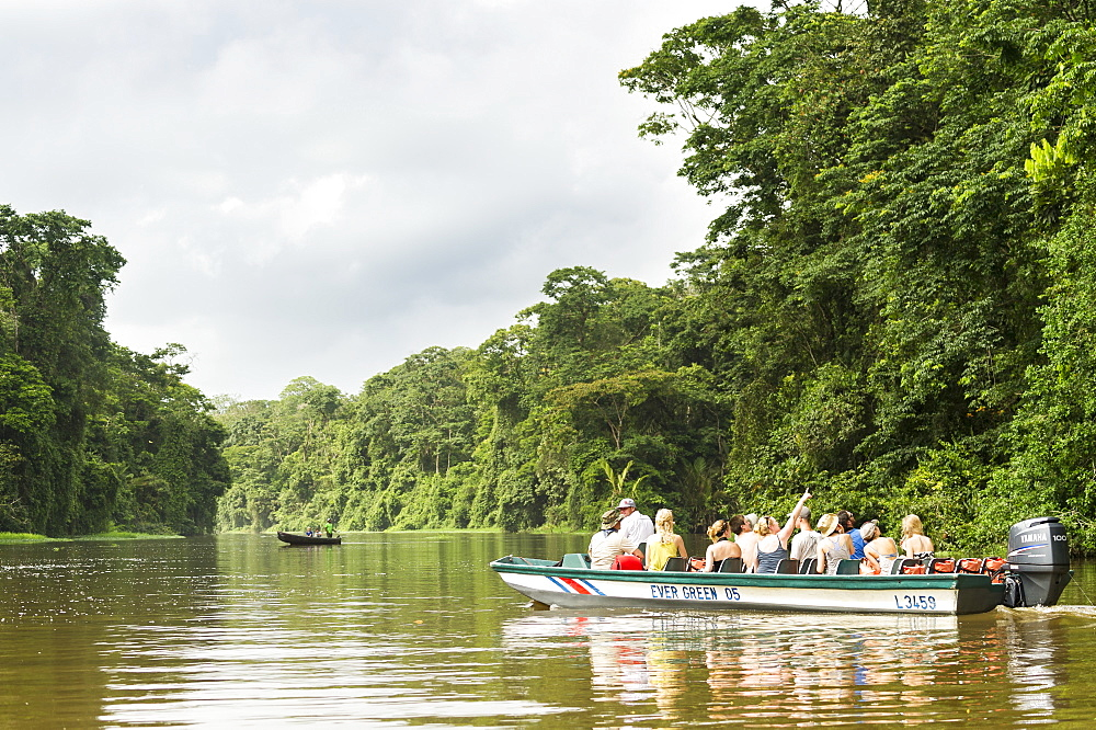 Tourists exploring the canals of Tortugaro National Park by boat, Costa Rica