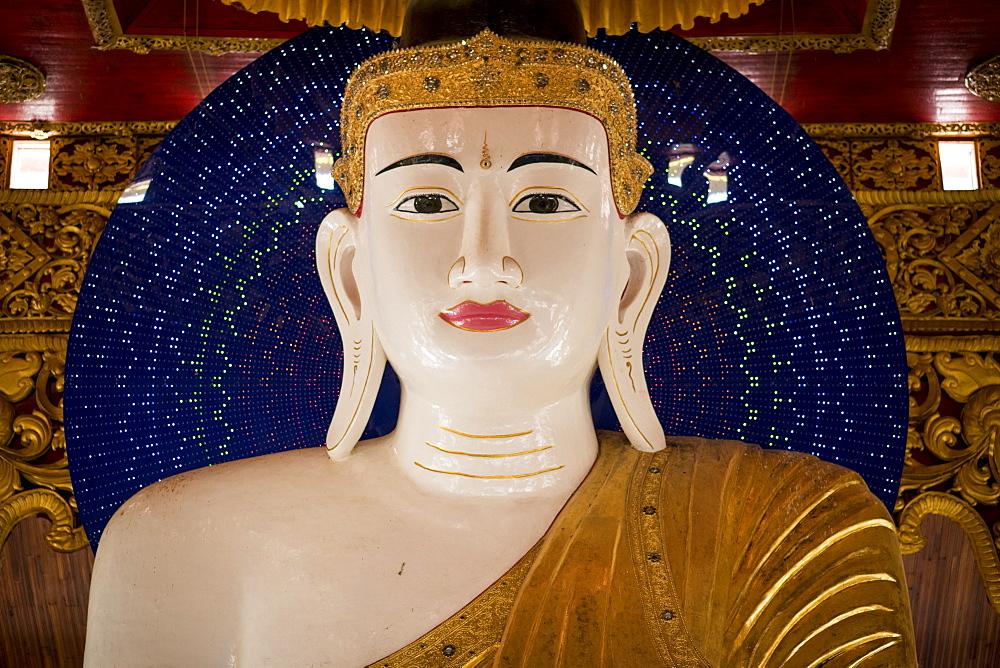 Buddha statue at the Yaza Thingyan Pagoda, Dala, Yangon, Myanmar.