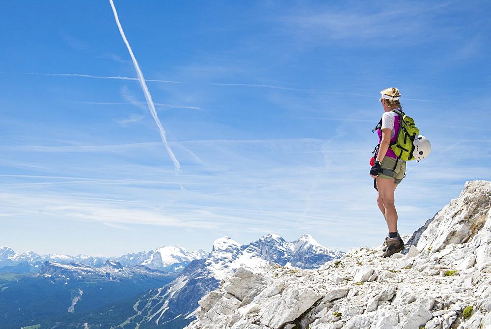 A Woman Enjoying The View At The Via Ferrata Ivano Dibona