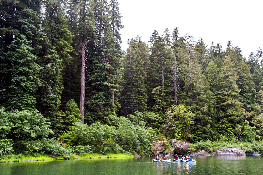 Long Exposure Of Kayakers On Smith River In Redwoods National Park