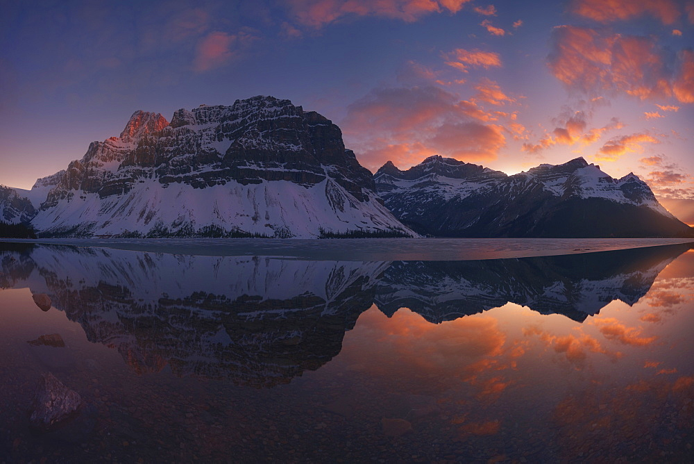 Scenic View Of Bow Lake Against Sky At Banff National Park