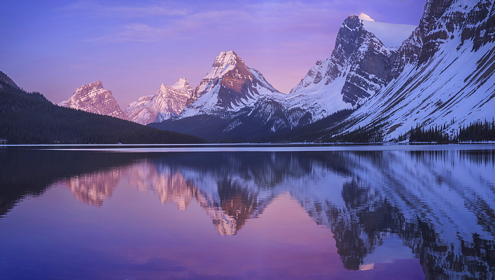Reflection Of Mountain And Sky In Bow Lake, Banff National Park, Alberta, Canada