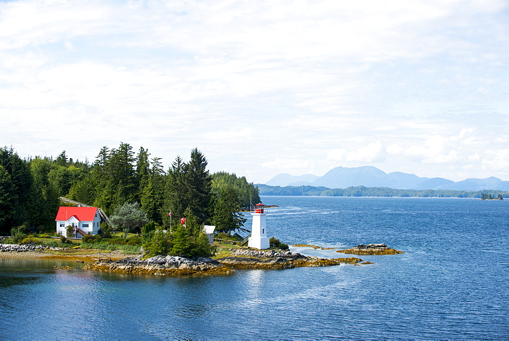A Lighthouse Along One Of The Many Inlets In The Inside Passage, Alaska