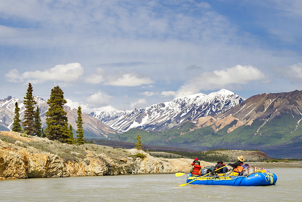 Group Of Rafters On The Alsek River In Alaska, Canada