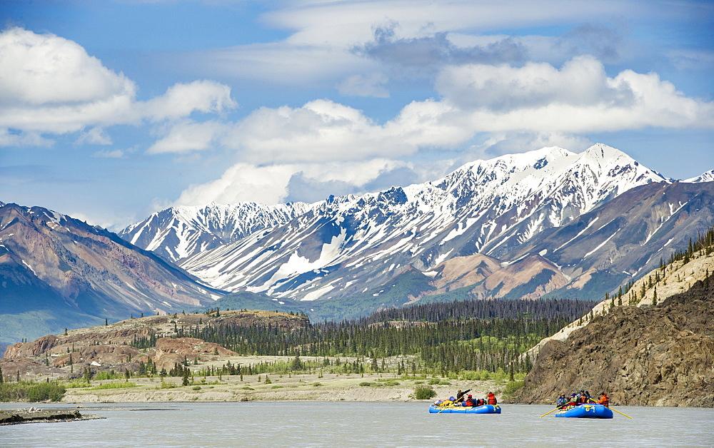People Rafting On The Alsek River In Canada