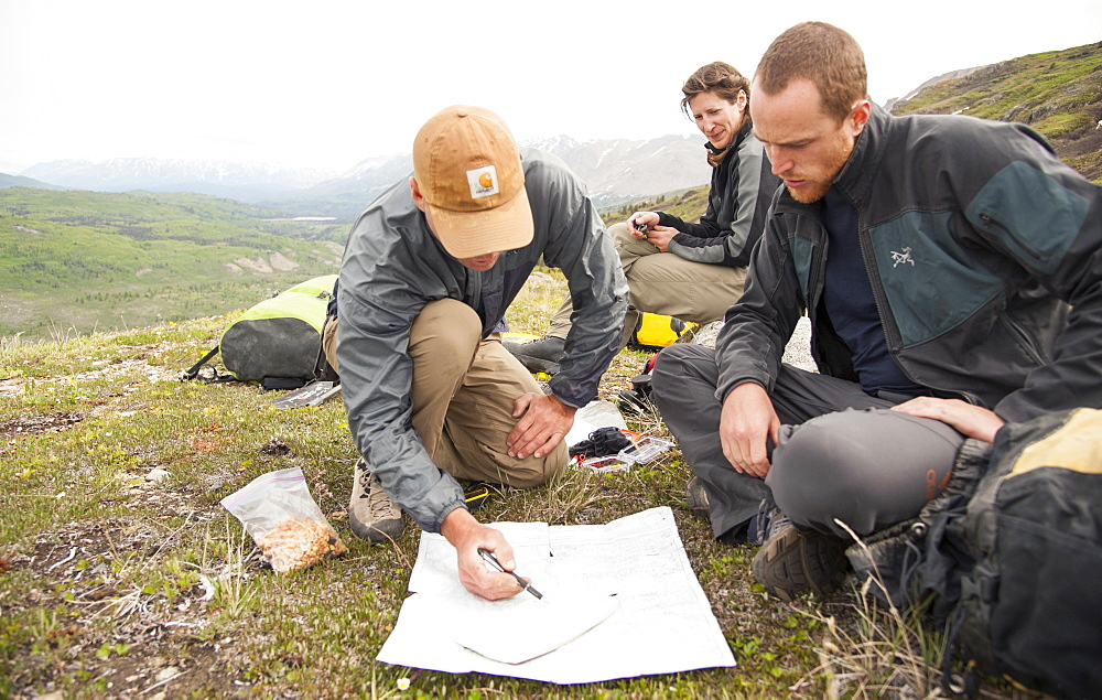 Hikers Checking Their Map On Goatherd Mountain Above Lowell Lake, Alsek River, Canada