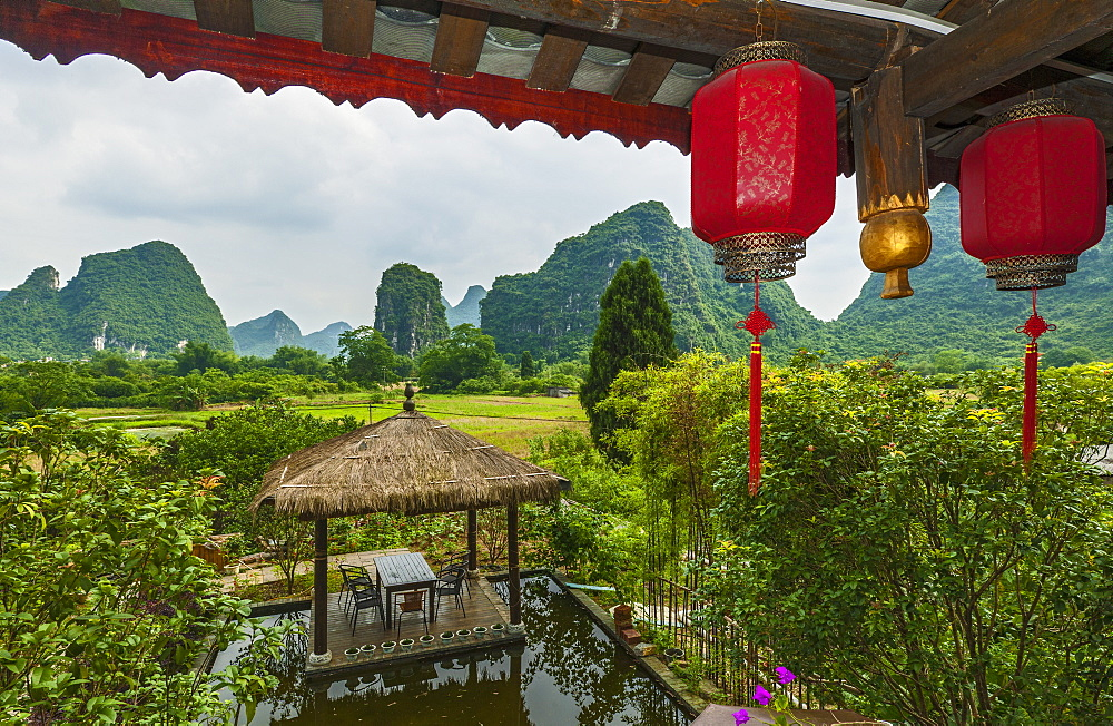 Red Lanterns Hanging In Yangshuo