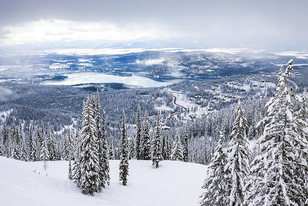 View Of Whitefish Lake From Whitefish Mountain Resort In Whitefish, Montana, Usa