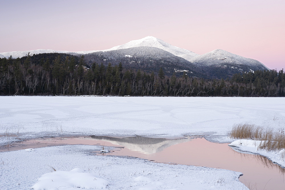 Snowy Landscape With Whiteface Mountain In Background At Adirondack