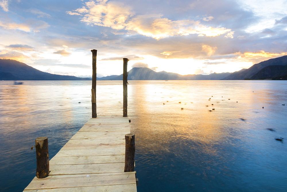 Scenic View Of Lake Atitlan From A Dock At Panajachel, Solola, Guatemala