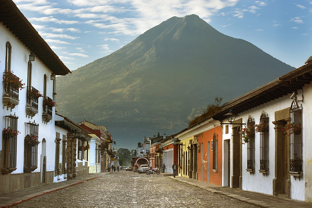 View Of Houses In Row In Volcan De Agua, Antigua, Guatemala