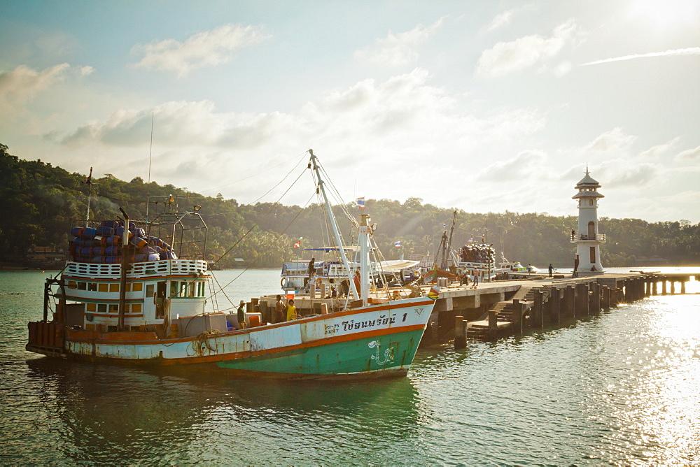 A Supply Boat Unloads At The Bang Boa Bay Warf, Koh Chang Island, Thailand