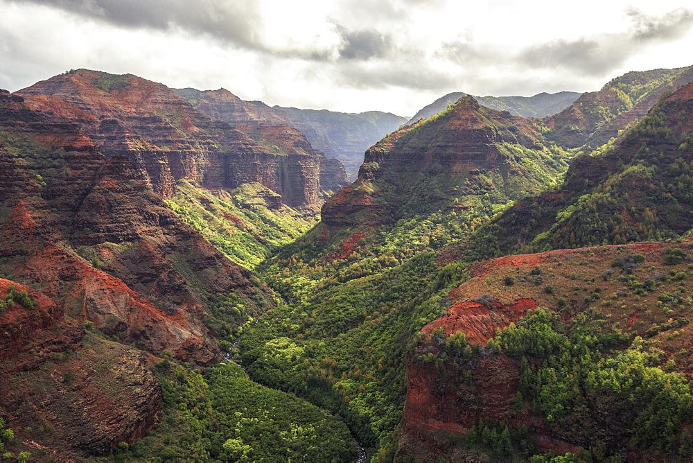 Mountains At Waimea Canyon State Park in Hawaiian Island Of Kauai