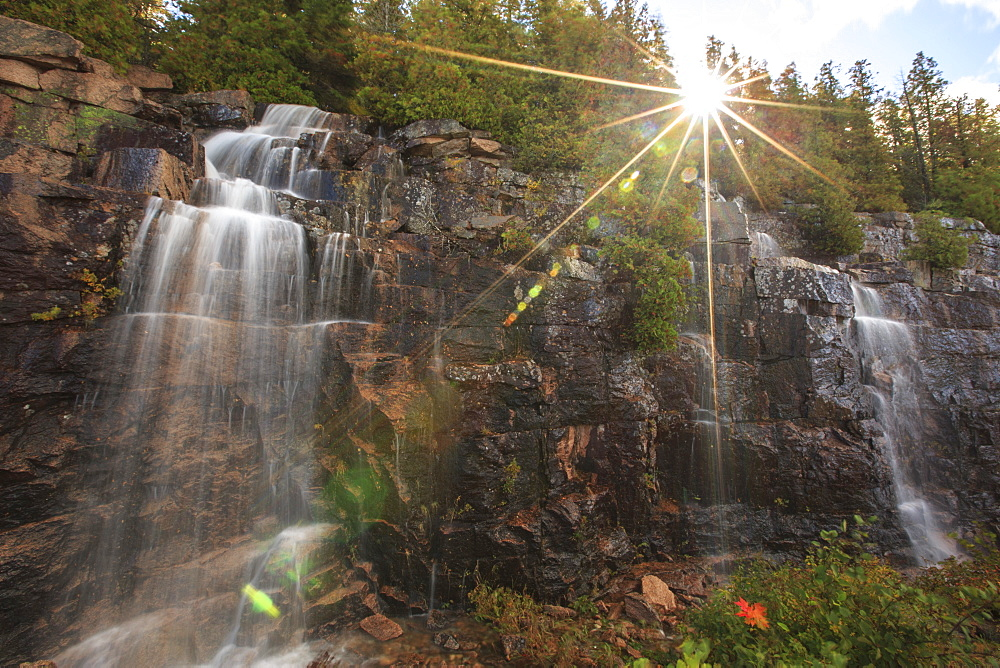 Heavy rains created rare waterfalls on Cadillac Mountain, Acadia National Park, Maine