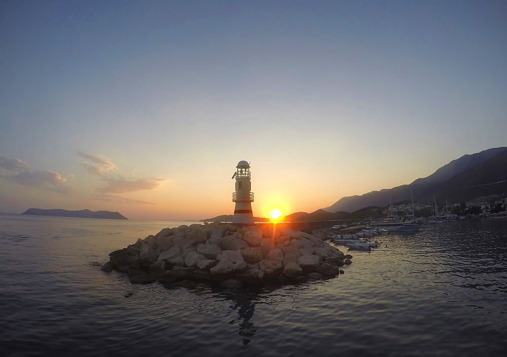 The Symbolic Sea Lane In Kas During Sunset In Turkey