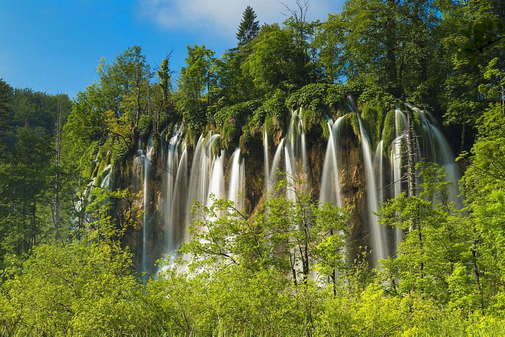 A travertine waterfall in Plitvice Lakes National Park, Croatia