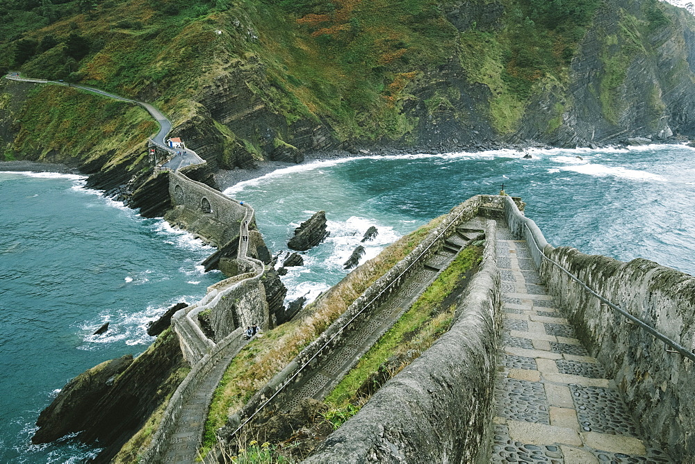 Walkway To Island Of San Juan De Gaztelugatxe From Hilltop Of Island