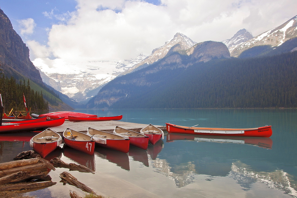 Lake Louise with canoes, summer