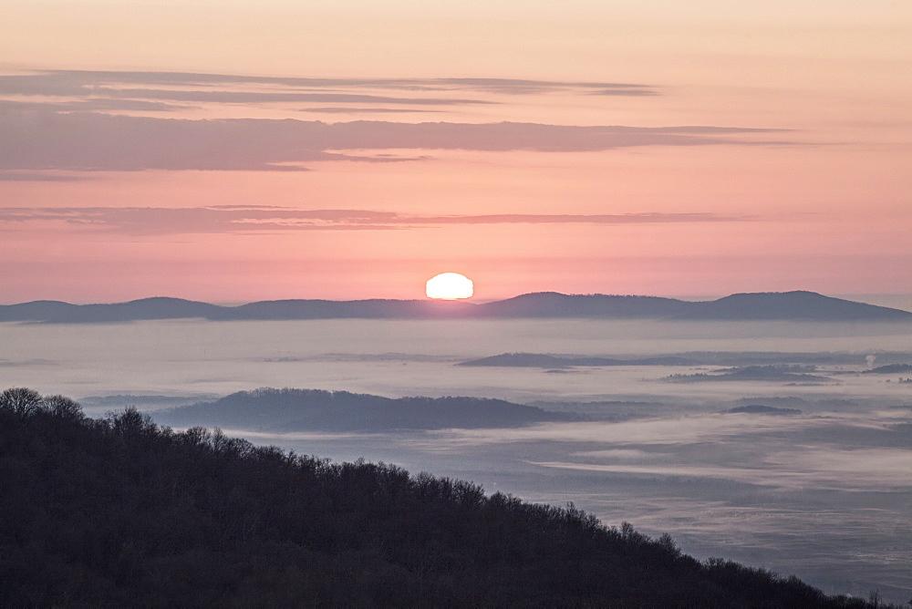 The Sunrises Over The Blue Ridge Mountains, Shenandoah National Park, Virginia