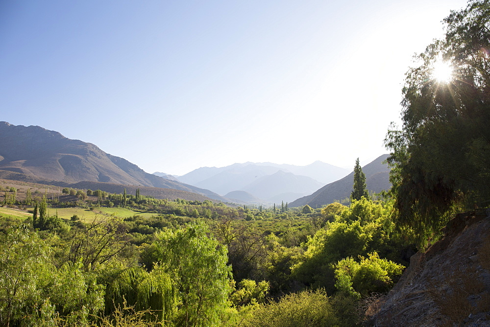 View across fertile valley in desert mountains