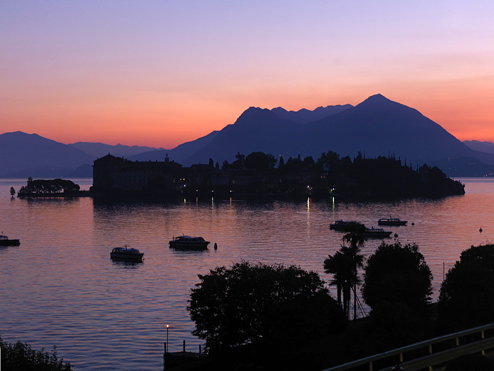 Sunset light over Lago Maggiore and Isola Bella