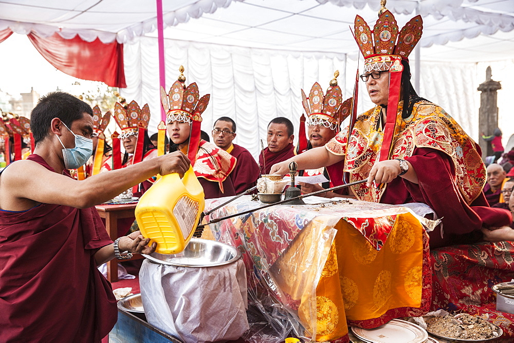Khen Rimpoche From Tsarang Conducts Religious Ceremony At Cremation Of Jiigme Palbar Bista