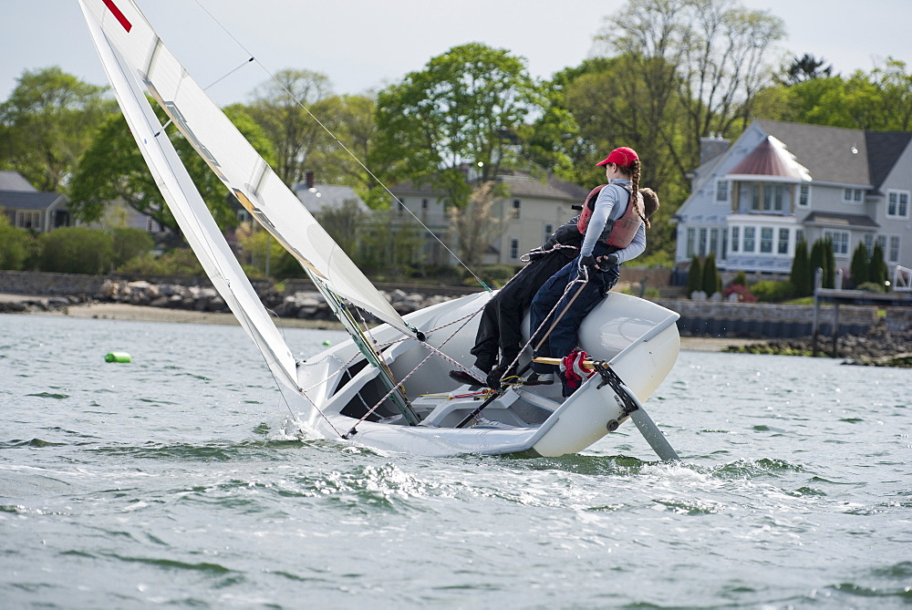 Junior sailors practicing in Rhode Island