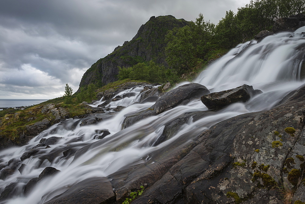 Waterfall near Sørvagen, Moskenesøy, Lofoten Islands, Norway
