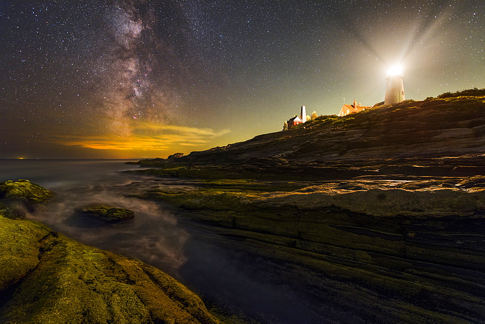 The Milky Way next to Pemaquid Point Lighthouse in Maine.