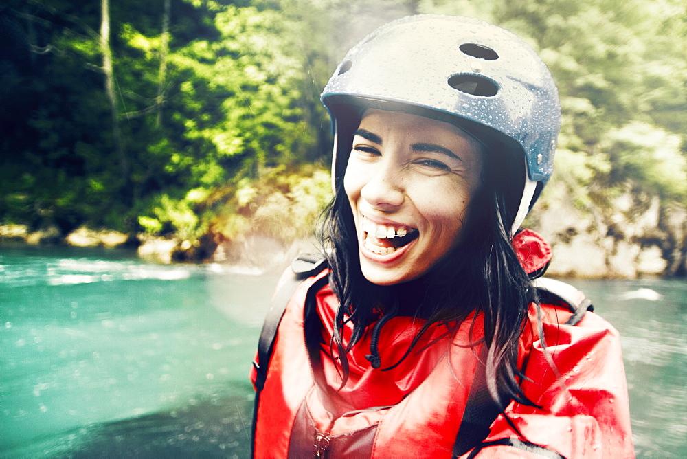Portrait shot of a girl in wet suit
