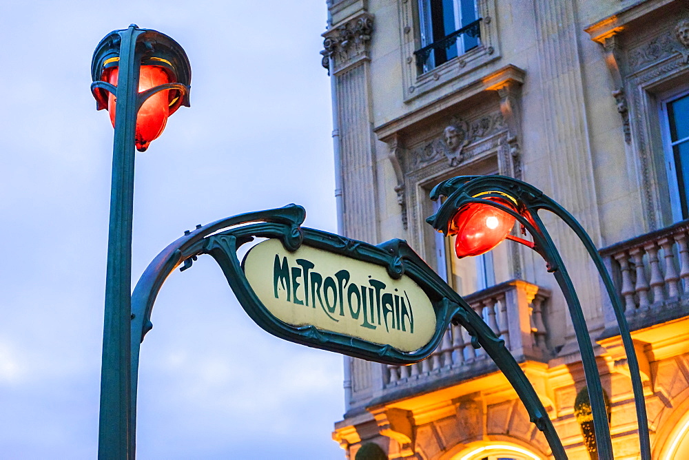 Sign for Metropolitain and street lamps in Saint Michel neighborhood, Paris, France - 857-94539