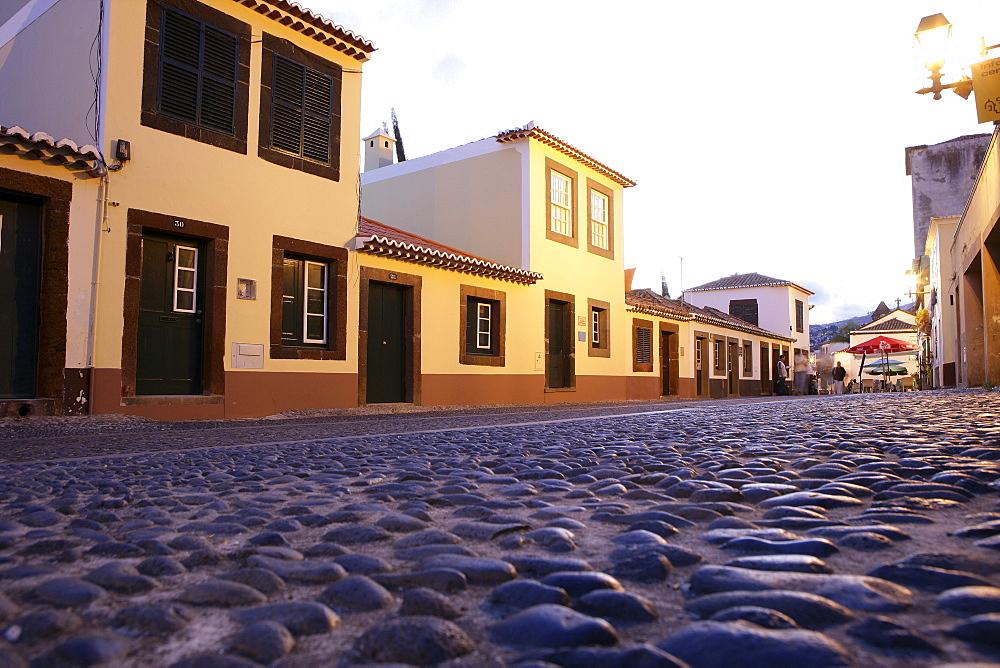 Portugal, Madeira, Funchal, Twilight view of the Santa Maria Street