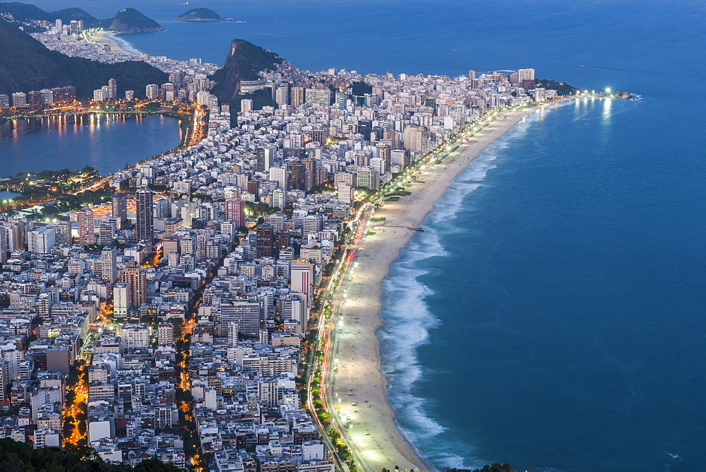 View from the top of Morro Dois Irmãos to Ipanema Beach in Rio de Janeiro, Brazil