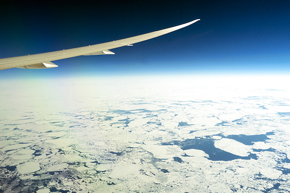 Melting sea ice off the Western Coast of Greenland seen from a 787 Dreamliner.