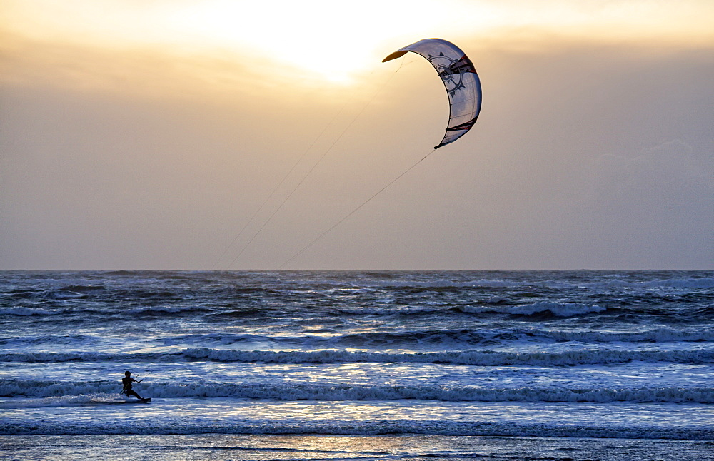 Kite surf at Le Fort Bloqué beach during winter time.