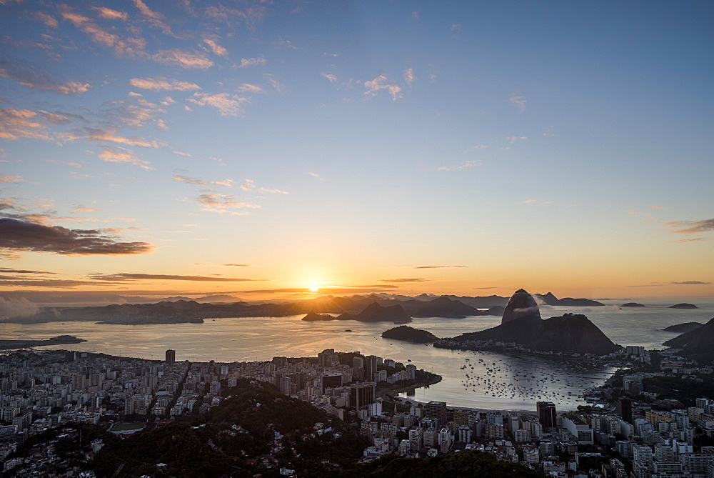 Rio de Janeiro city coastline and Sugar Loaf mountain at dawn seen from Mirante Dona Marta, Brazil