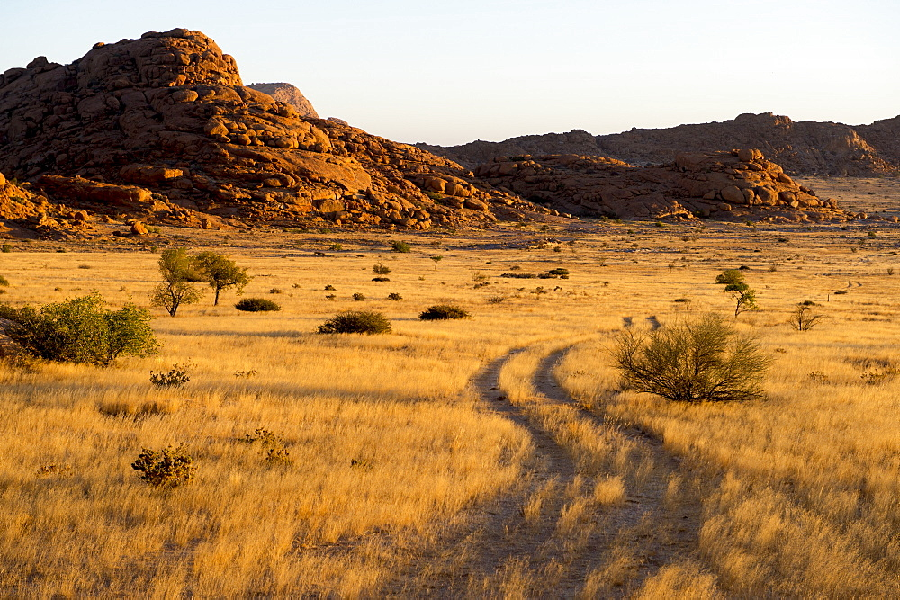 Beautiful scenery of savannah with hills, Spitzkoppe, Erongo region, Namibia