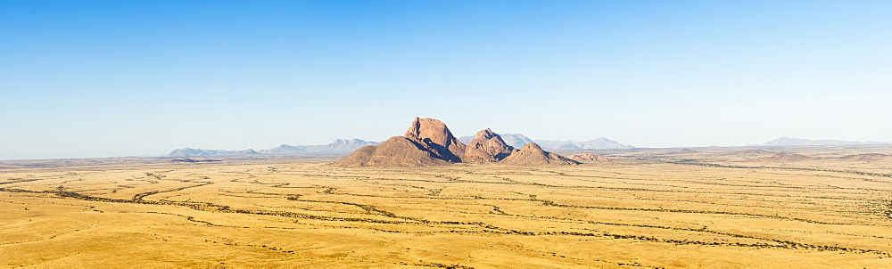 Beautiful panorama of savannah with rock formation, Spitzkoppe, Erongo region, Namibia