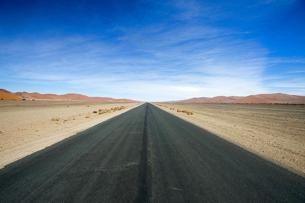 Empty road in desert, Namib Naukluft National Park, Namibia
