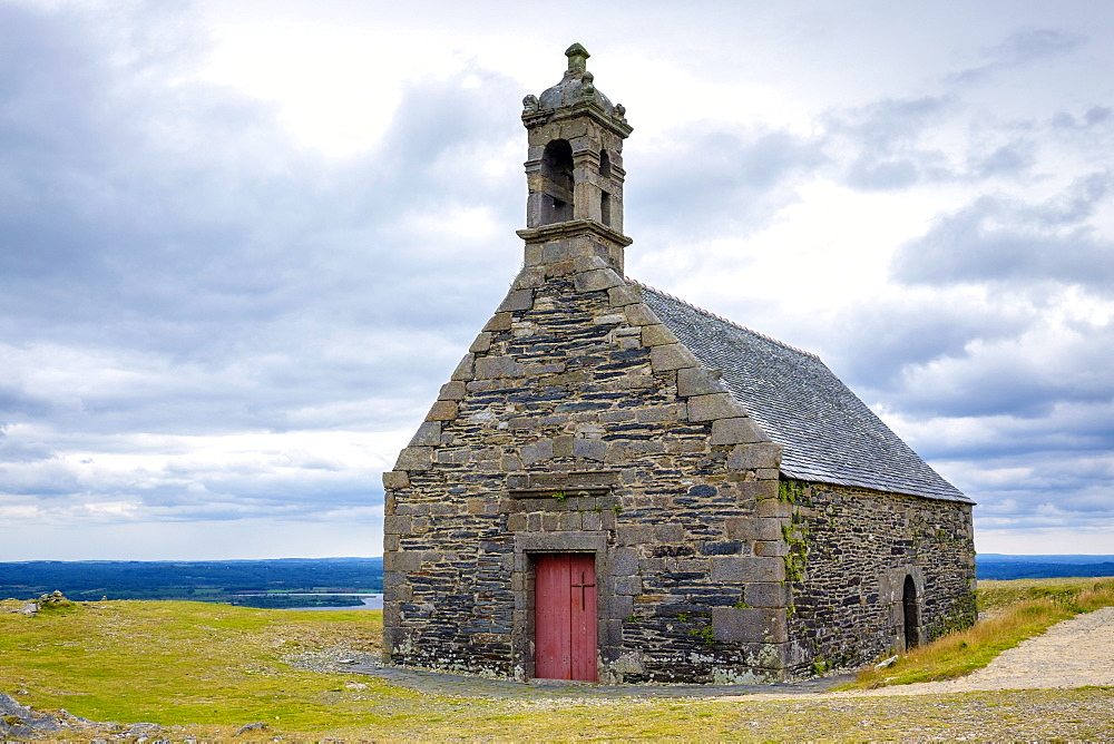 Chapel of Saint-Michel on Mont Saint-Michel de Brasparts in the Monts d'Arree, Armorica Regional Natural Park, Brasparts, Finistere, Brittany, France