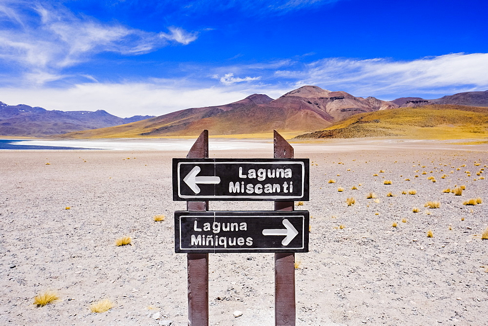 Sign for Lagunas Miscanti and Miniques in the Atacama Desert, Chile